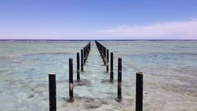 Piles for a bridge to the sea. Cloudless blue sky on the horizon and calm clear sea stock video footage