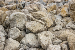 Piles of broken concrete cement background Stock Images