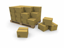 Piles of cardboard boxes on a pallet. 3d image: piles of cardboard boxes on a pallet Stock Photos