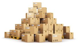 Piles of cardboard boxes on shipping pallets royalty free illustration
