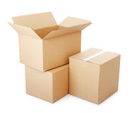 Piles of cardboard boxes stock image