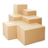 Piles of cardboard boxes royalty free stock photos