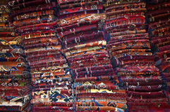 Piles of carpets. In a storage room of a carpet merchant, Turkey stock photography