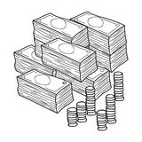 Piles of cash and coins icon in outline style isolated on white background. Conference and negetiations symbol stock Royalty Free Stock Photo