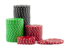 Piles of casino chips Royalty Free Stock Photos