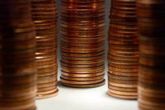 5 piles of 5 cents (euro). Macro close-up of 5 piles of 5 cent (euro) copper coins filling up the frame Stock Images