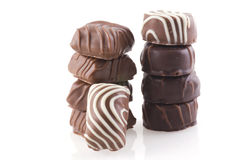 Piles of chocolate. Royalty Free Stock Images