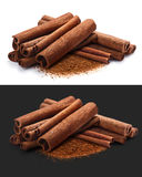 Piles of cinnamon in sticks and ground, paths. Piles of cinnamon sticks with ground cinnamon together. Clipping paths for each object, shadows separated Stock Image