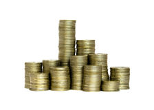 Piles of coins. Piles of Russian roubles coins isolated on white Stock Images
