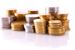 Piles of coins Stock Image