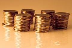 Piles of coins. Some piles of european Euro coins Stock Photo