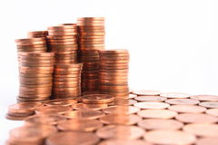 Piles of Coins. Columns of coins made in a place Royalty Free Stock Images