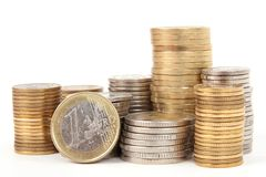 Piles of coins (euro) Royalty Free Stock Images