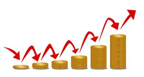 Rising Money Steps With Arrows Over White. Piles of coins increasing in size with arrows indicating inflation or rising succe financialy Royalty Free Stock Photography