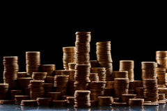 Piles of coins. Isolated on background Royalty Free Stock Photo