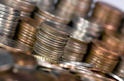Piles of coins shallow DOF Royalty Free Stock Photography