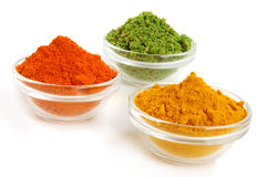 Piles of color spices Royalty Free Stock Images