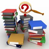 Piles of colored office ring binders with  question-mark and magnifying glass Royalty Free Stock Images