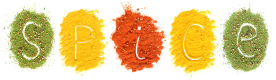 Piles of colored spices Royalty Free Stock Image