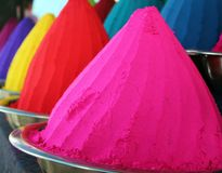 Piles of colorful indian holi dye powders Royalty Free Stock Photography
