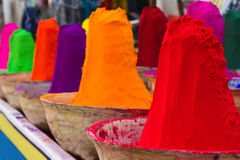 Piles of colorful powdered dyes Royalty Free Stock Images