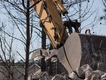 Concrete Crushing Operation VIII. Piles of concrete construction debris are recycled into crushed concrete for site foundation construction Royalty Free Stock Photos