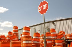 Piles of cones for highway construction Stock Photos