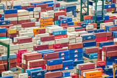 Piles of containers in the harbor of Singapore Royalty Free Stock Photo