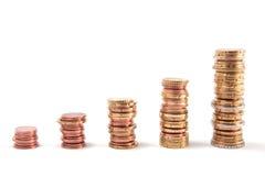 Piles croissantes de pièce de monnaie Image stock