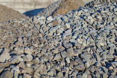 Piles of crushed stones stock photo
