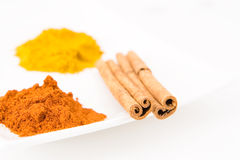 Piles of curry powder. Colorful piles of curry and paprika with 2 cinnamon sticks Stock Photography