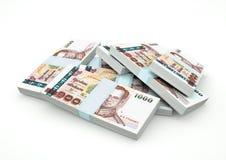 Piles d'argent de la Thaïlande d'isolement sur le fond blanc Image libre de droits