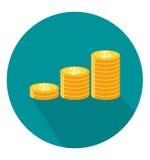 Piles d'icône de pièces d'or dans le style plat à la mode Image stock