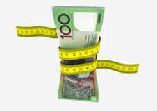 Piles of 3D Rendered Australian money with yellow measure tape. Piles of 3D Rendered Australian money with with yellow measure tape isolated on white background Stock Photo