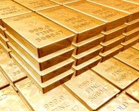 Piles de bars d'or Images stock