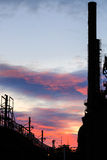 Piles de Bethlehem Steel au crépuscule, avec des lumières dessus Images libres de droits