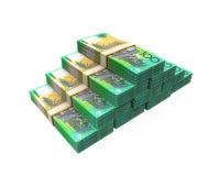 Piles de 100 billets de banque du dollar australien Images stock