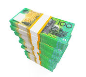 Piles de 100 billets de banque du dollar australien Photos libres de droits