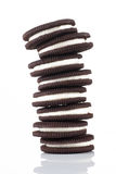 Piles de biscuits sur le fond blanc Images stock