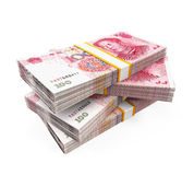 Piles de Chinois Yuan Banknotes Images stock