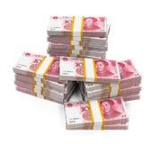 Piles de Chinois Yuan Banknotes Images stock