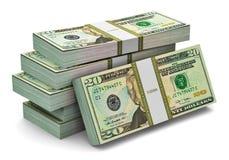 Piles de 20 dollars de billets de banque Image stock