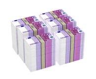 Piles de 500 euro billets de banque Photos libres de droits