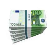 Piles de 100 euro billets de banque Photos libres de droits