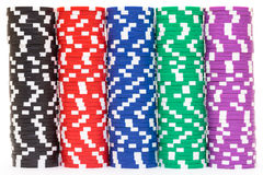 Piles de jetons de poker multicolores Images libres de droits