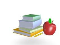 Piles de livres avec le crayon et la pomme Photographie stock