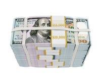 Piles de nouveaux 100 billets de banque de dollar US Images libres de droits