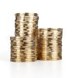 Piles de pièce de monnaie Images libres de droits