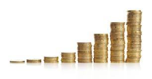 Piles de pièces d'or Image stock