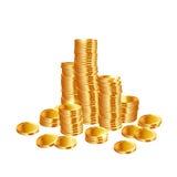 Piles de pièces d'or Photos stock